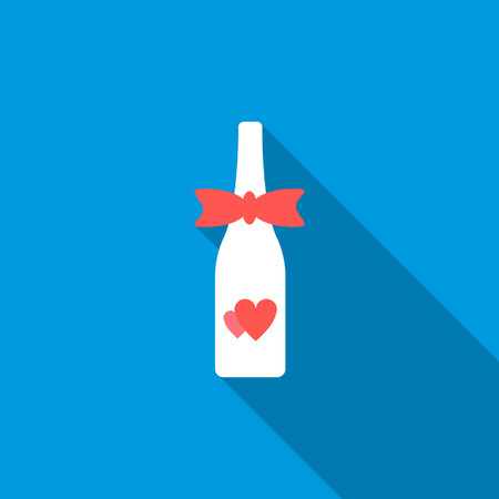 champagne celebration: Wedding champagne bottle icon in flat style with long shadow. Drink and celebration symbol