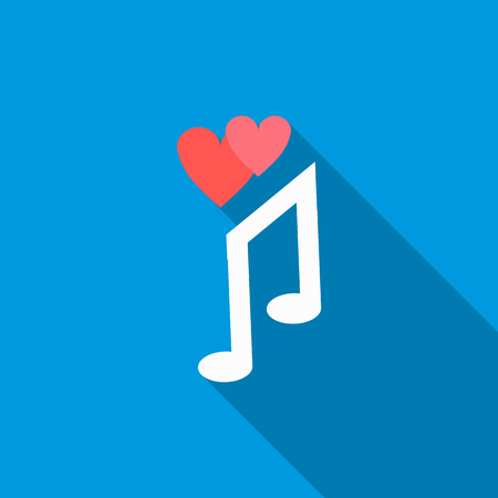 love song: Love song icon in flat style with long shadow. Musical note symbol Illustration