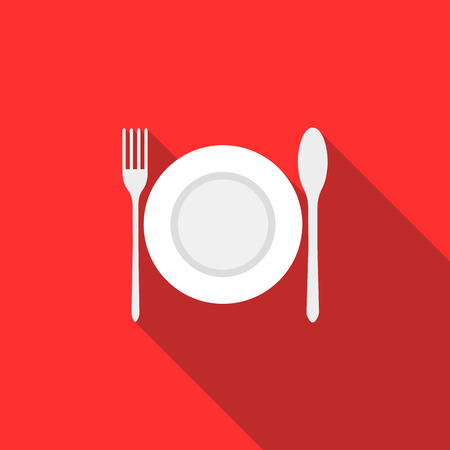 plate setting: Plate, spoon and fork icon in flat style with long shadow. Table setting and eating symbol