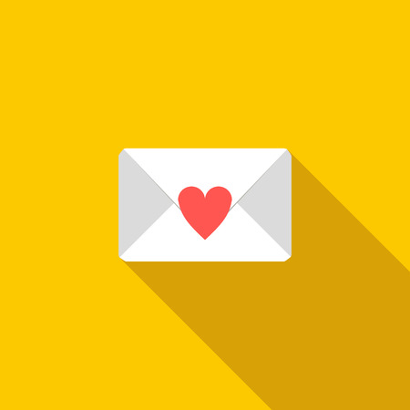 feelings and emotions: Love letter icon in flat style with long shadow. Feelings and emotions symbol