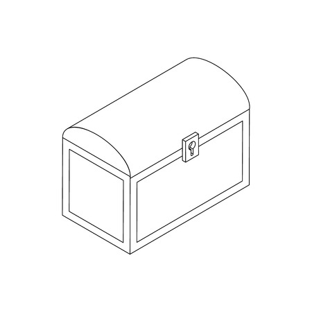 coffer: Chest icon in isometric 3d style isolated on white background