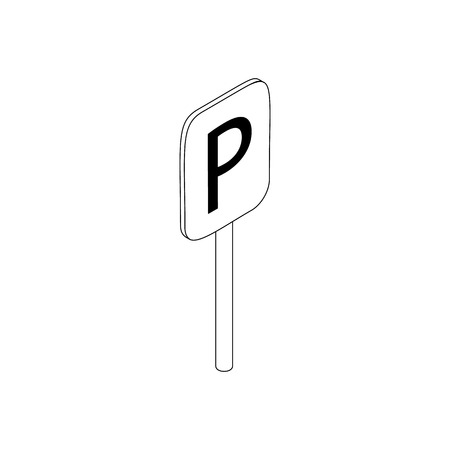 signal pole: Parking place sign icon in isometric 3d style isolated on white background