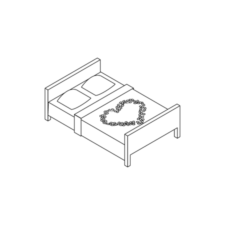 twin bed: Double bed with laid out heart icon in isometric 3d style isolated on white background
