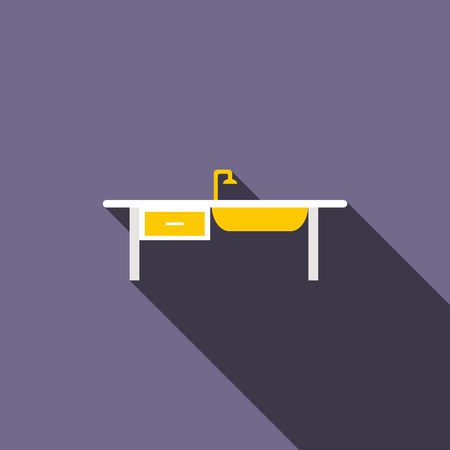 kitchen sink: Kitchen sink icon in flat style with long shadow. Washing dishes and equipment symbol Illustration