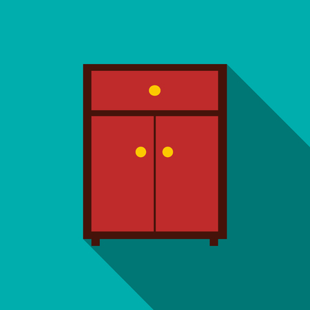 chipboard: Drawer icon in flat style with long shadow. Home and interior symbol Illustration