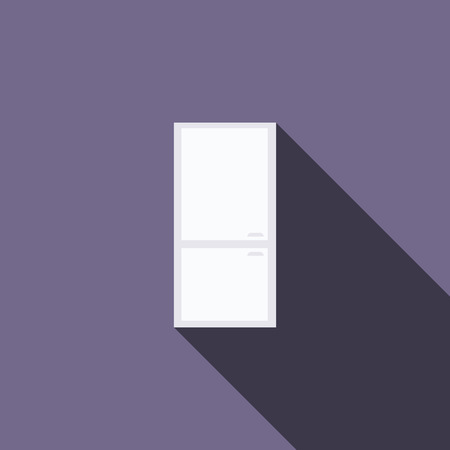 icebox: Refrigerator icon in flat style with long shadow. Kitchen and food storage symbol