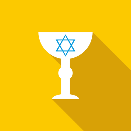 yom kippur: Cup with Star of David icon in flat style on a yellow background Illustration