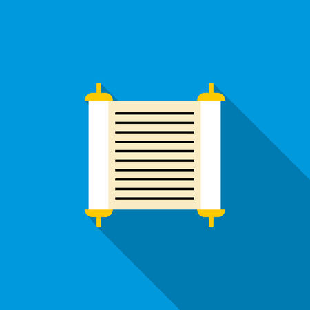tora: Torah scroll icon in flat style on a blue background