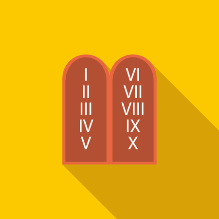 commandments: Ten Commandments  icon in flat style on a yellow background