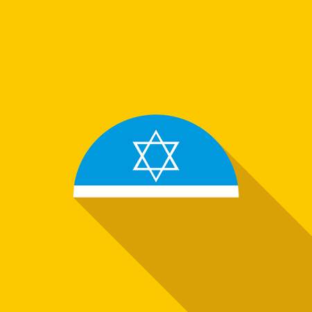 jews: Traditional jewish headwear with star of David icon in flat style on a yellow background