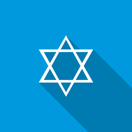hannukah: Star of David icon in flat style icon in flat style on a blue background Illustration
