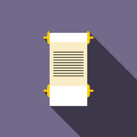 pentateuch: Ancient scroll icon in flat style on a violet background