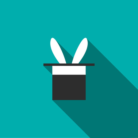 hid: Rabbit appearing from a top magic hat icon in flat style on a turquoise background Illustration