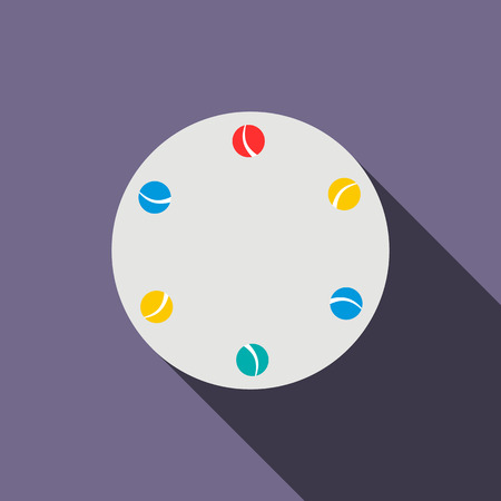 jugglery: Juggling balls icon in flat style on a violet background