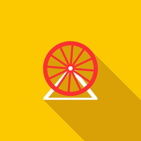 黄色の背景にフラット スタイルの観覧車アイコン  イラスト・ベクター素材