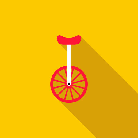 balancing act: Unicycle or one wheel bicycle icon in flat style on a yellow background