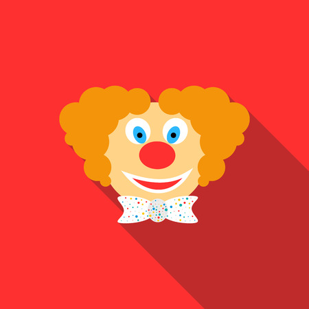 buffoon: Head of clown icon in flat style on a red background