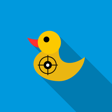 duckie: Yellow duck target icon in flat style on a blue background Illustration