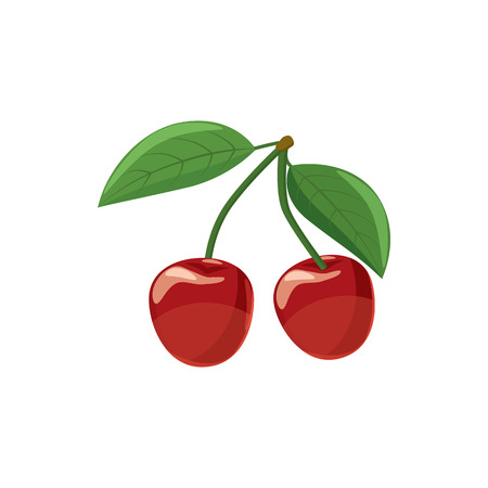 glace: Ripe red cherry berries with icon in cartoon style on a white background