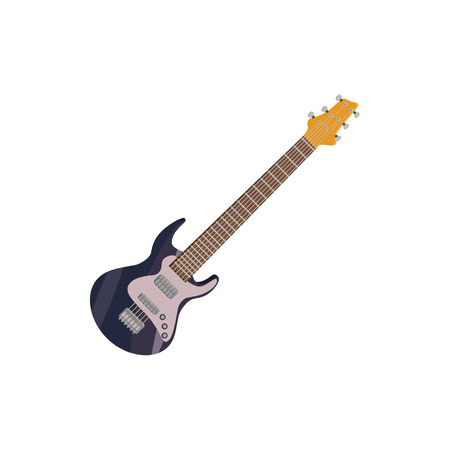 rosewood: Black electric guitar icon in cartoon style on a white background