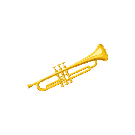 fanfare: Brass trumpet icon in cartoon style on a white background Illustration