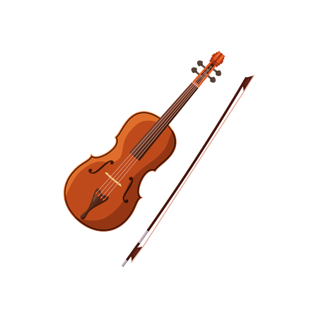fiddlestick: Violin with fiddlestick icon in cartoon style on a white background