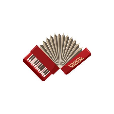 Red Akkordeon Symbol im Cartoon-Stil auf einem weißen Hintergrund