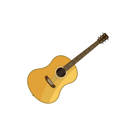 classical guitar: Classical guitar icon in cartoon style on a white background Illustration
