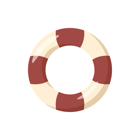 swimming belt: Striped lifebuoy icon in cartoon style on a white background