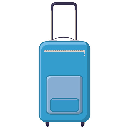 lugage: Blue travel suitcase icon in cartoon style on a white background