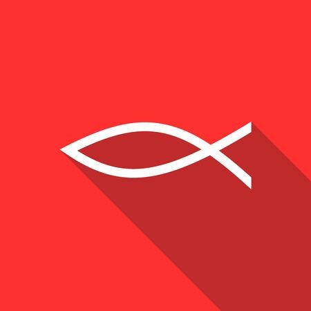 pez cristiano: El símbolo cristiano de los pescados en icono de estilo plano sobre un fondo rojo
