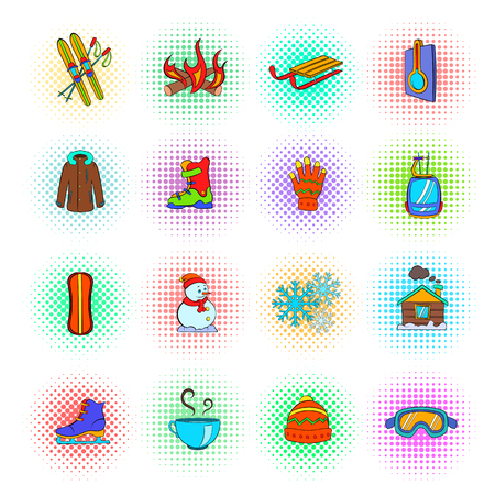 white winter: Winter icons set in pop-art style on a white background
