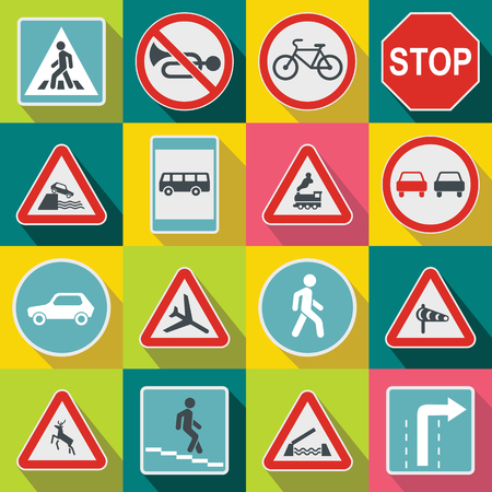 Road Sign Set icons in flat style for any design