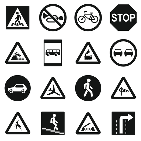 multiple lane highway: Road Sign Set icons in simple style for any design Illustration