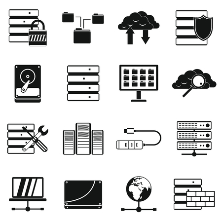 cylinder lock: Database icons set in simple style for any design
