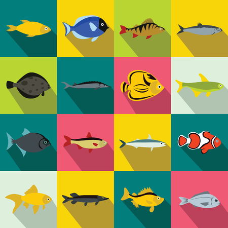 plunging: Fish icons set in flat style for any design