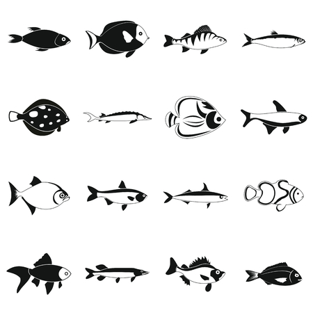 plunging: Fish icons set in simple style for any design Illustration