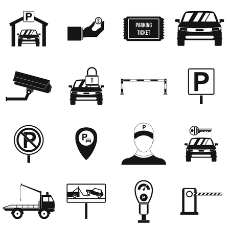 Parking set icons in simple style for any design Vettoriali