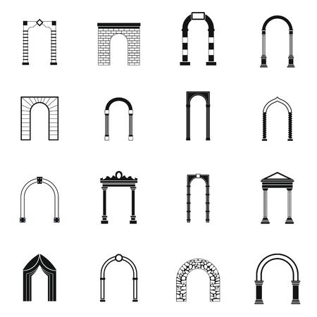 Arco establece iconos de estilo sencillo para cualquier diseño Ilustración de vector