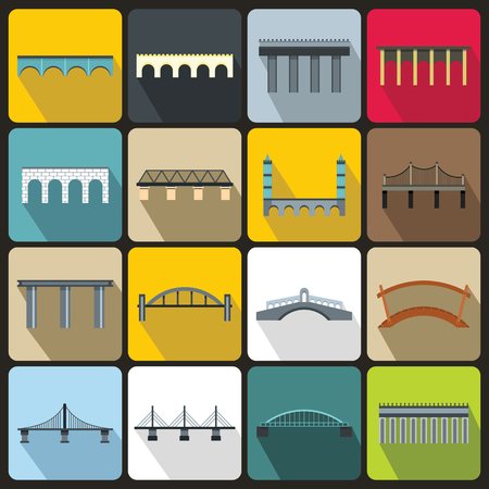 viaduct: Bridge set icons in flat style for any design