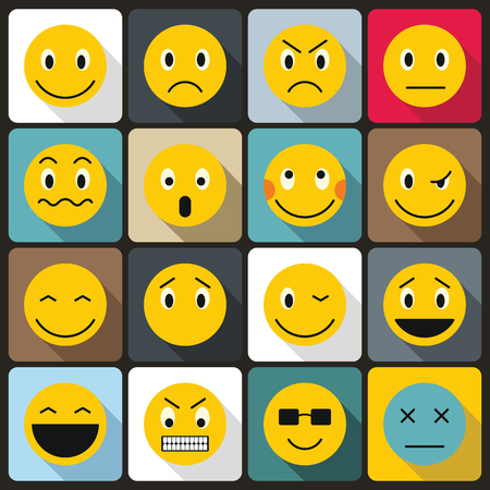 scheming: Emoticon icons set in flat style for any design