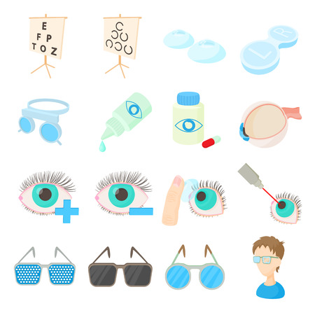 diopter: Vision correction icons set in cartoon style isolated on white background