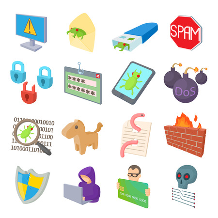 anonymity: Hacking icons set in cartoon style isolated on white background Illustration