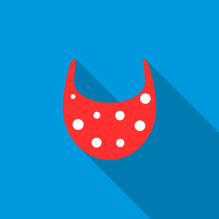 Baby bib icon in flat style with long shadow. Children care symbol