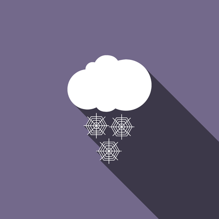 hailstorm: Cloud with snow icon in flat style with long shadow