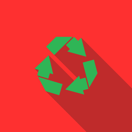 simbol: Recycle simbol icon in flat style with long shadow
