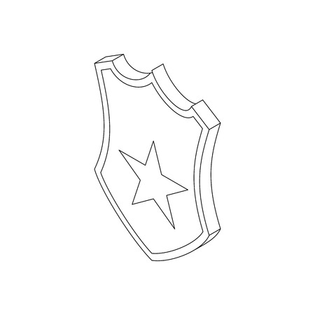 Police badge icon in isometric 3d style on a white background