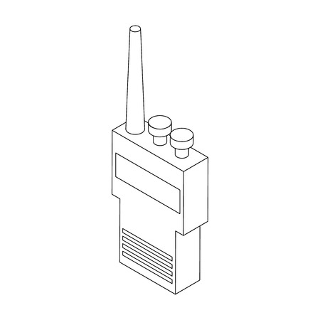 simplex: Portable handheld radio icon in isometric 3d style on a white background