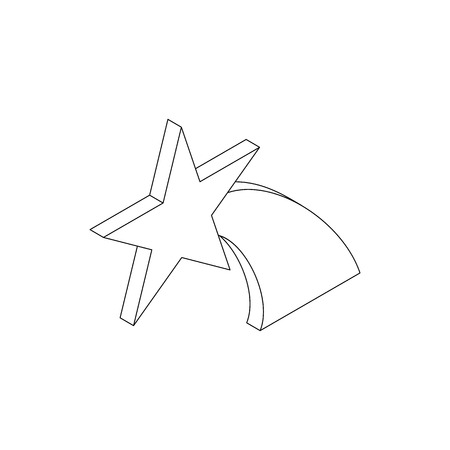 falling star: Falling star icon in isometric 3d style on a white background Illustration