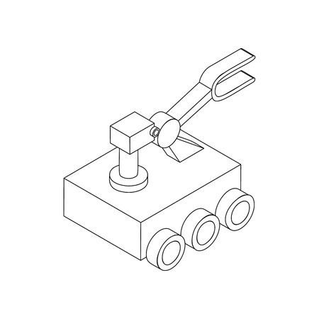 exploration: Mars exploration rover icon in isometric 3d style on a white background